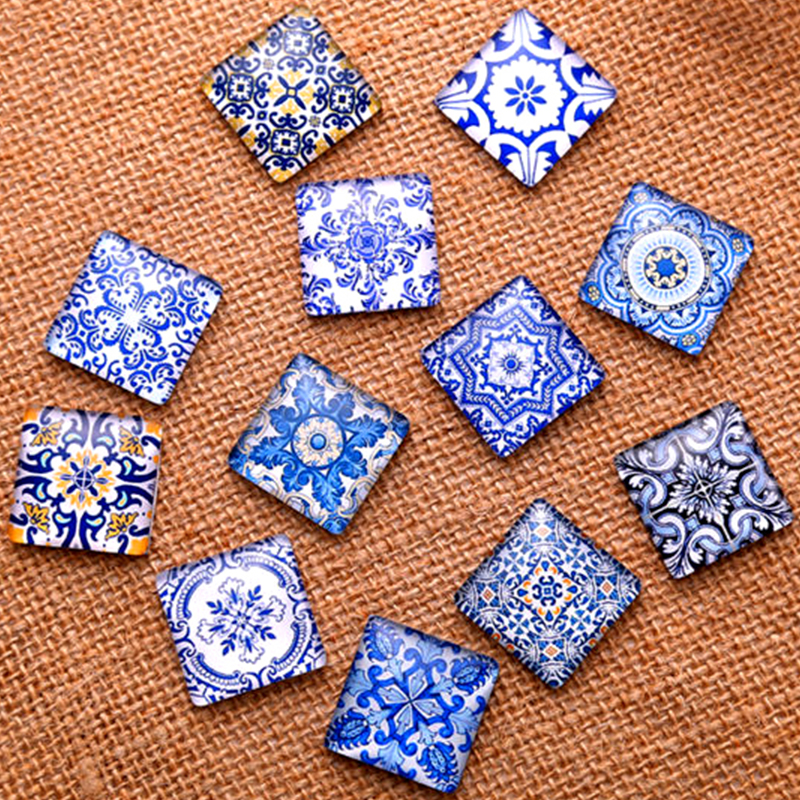 Blue White Porcelain Square Pattern Fit 10/15/20/25mm DIY Jewelry Making Glass Cabochons Cameo Base Setting Jewelry Components