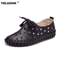 New Spring Summer Leather Shoes Women Flats Lace Up Women Moccasins Loafers Casual Handmade Woman Driving