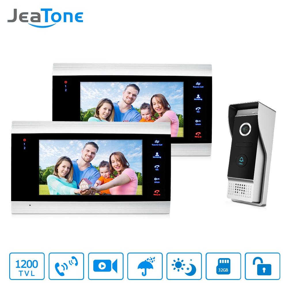 JeaTone Vidéo Porte Téléphone Système D'interphone 7 HD TFT panneau Métallique Moniteur & 1200TVL IR Sonnette Caméra Accueil Kit 2v1