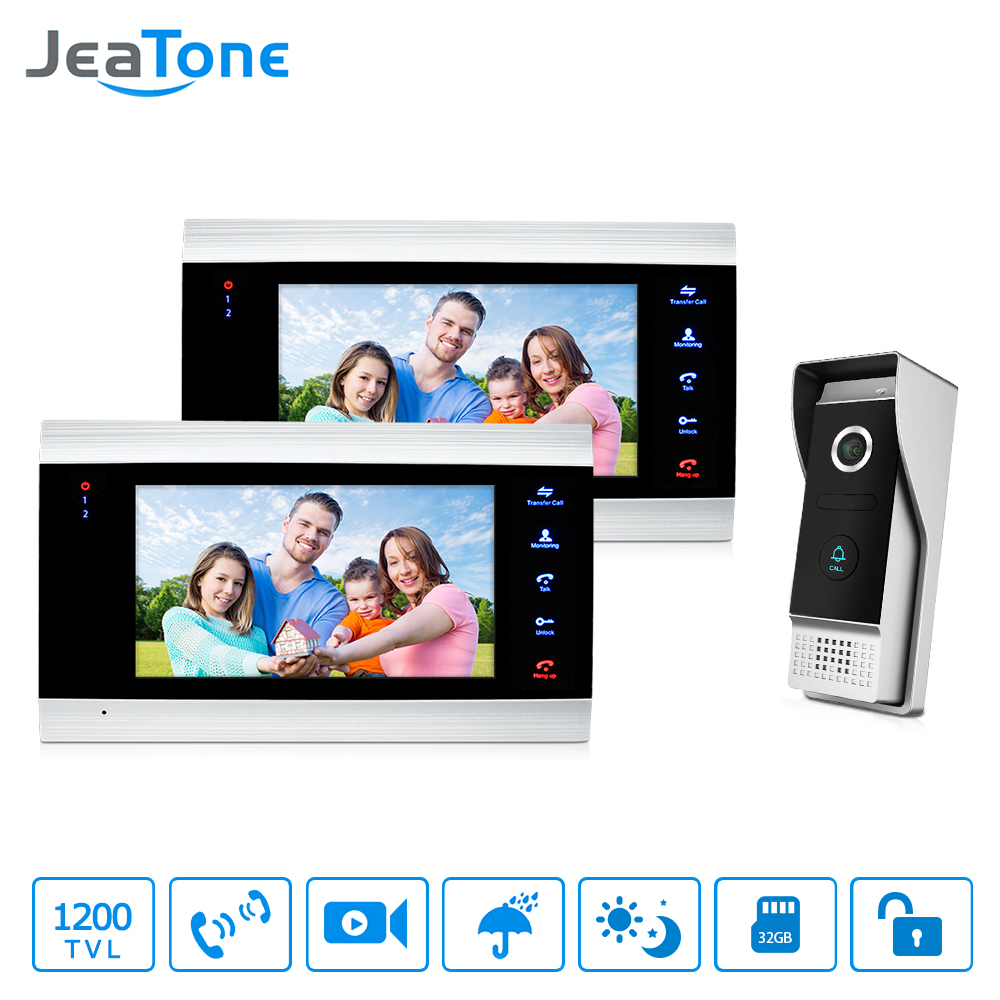 JeaTone Video Door Phone Intercom System 7 HD TFT Metal panel Monitor & 1200TVL IR Doorbell Camera Home Kit 2v1 jeatone 7 lcd monitor wired video intercom doorbell 1 camera 2 monitors video door phone bell kit for home security system