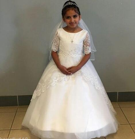 1/2 Sleeves Lace Pageant Formal Birthday Princess   Flower     Girl     Dresses   First Communion   Dresses
