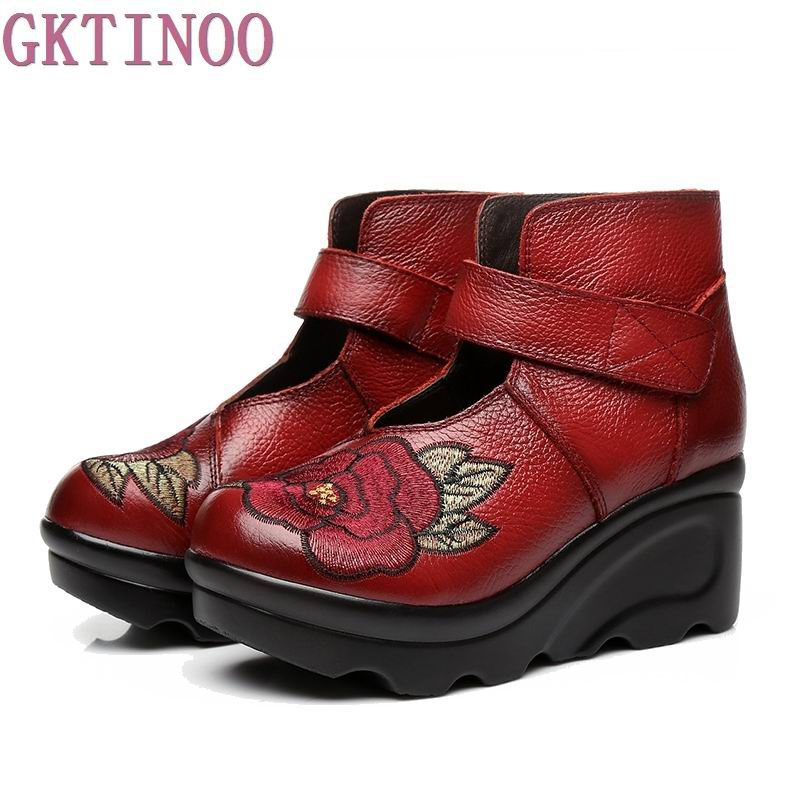 New Arrival 2018 Fashion Women Autumn Genuine Leather Boots Handmade Vintage Flower Embroidered Ankle Botines Wedges Shoes Woman front lace up casual ankle boots autumn vintage brown new booties flat genuine leather suede shoes round toe fall female fashion