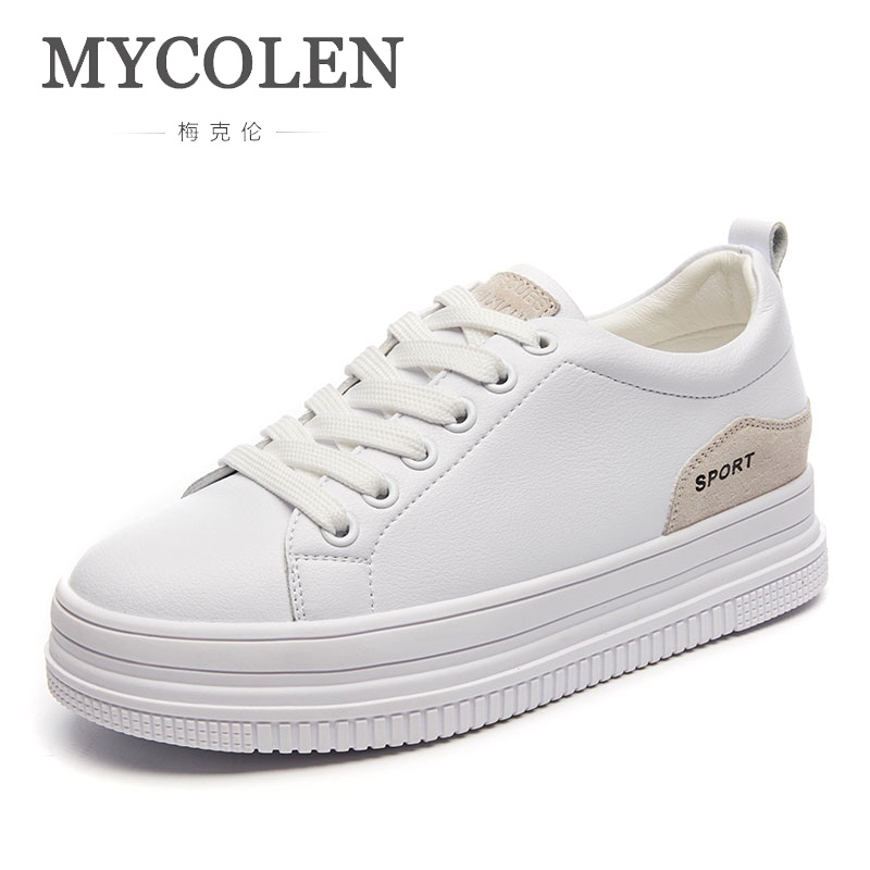 MYCOLEN Fashion Spring Autumn New Genuine Leather Round Head Height Increase Shoes Women Casual Shoes Lace Up Platform Shoes
