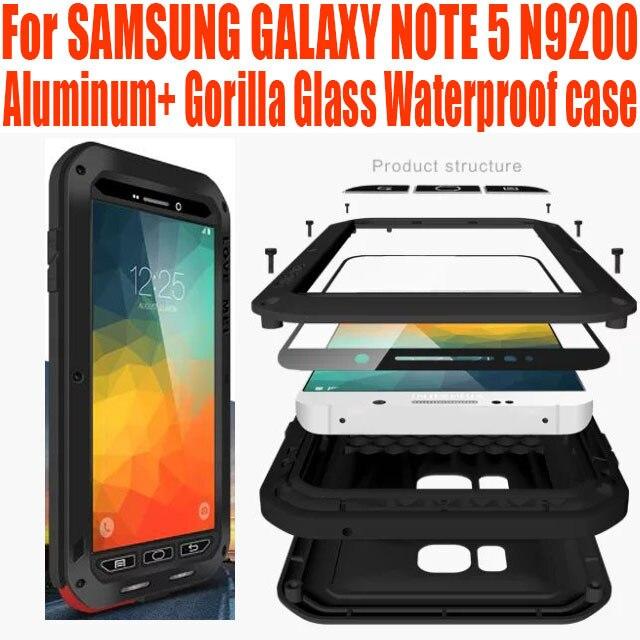 Case for SAMSUNG GALAXY NOTE 5 N9200 Оригинал Lovemei Алюминий + Gorilla Glass Шок Падение Водонепроницаемый Case НЕТ: N53