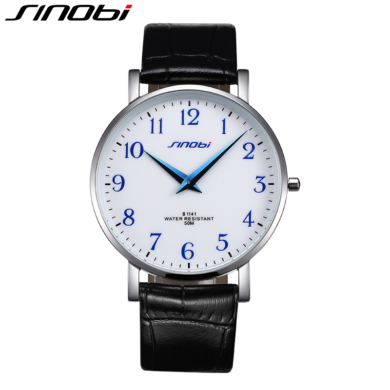 SINOBI 2017 Men Fashion Watch Genuine Leather Band Quartz Watches Business Casual Wristwatches Male Clock Relojes Hombre casual leather band mens watch fashion business analog display quartz wristwatches montre homme water resistant luminous clock