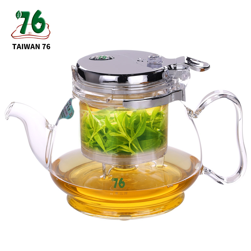 Elegant Teapot kungfu Tea Set Press AUTO OPEN Art Teapot With Stainless Filter Infuser de cha Heat Resistant Glass Teapot