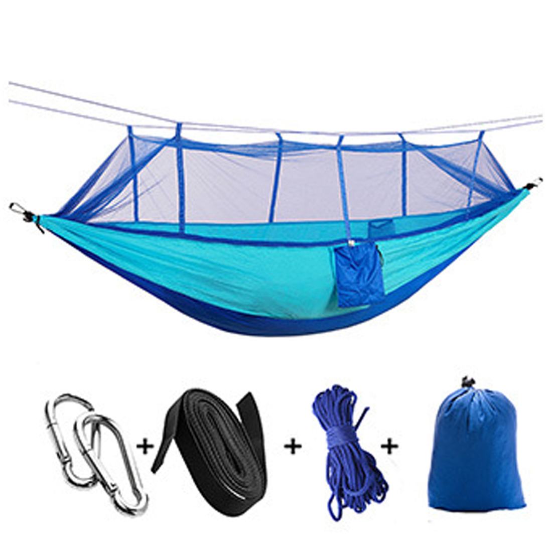 Cheap Sale 2.6*1.4m 2 Person Outdoor Camping High Strength Nylon Parachute Hanging Bed With Mosquito Net Anti Mosquito Sleeping Bag Hammock Sleeping Bags