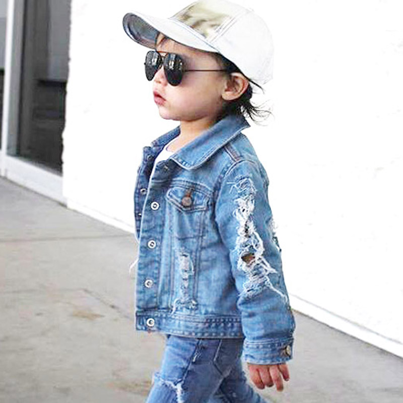 f54b58a6878 Toddler Boys Jean Jackets Denim For boy Girls Coats Kids Girl Jackets Coat  Casual Baby Girl Denim Jackets Children Holes Clothes-in Jackets & Coats  from ...