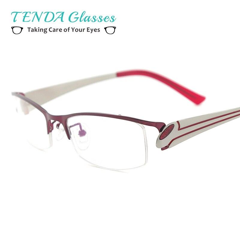 ⑥De Metal Medio Borde Gafas Mujeres Gafas Graduadas Para La Miopía ...
