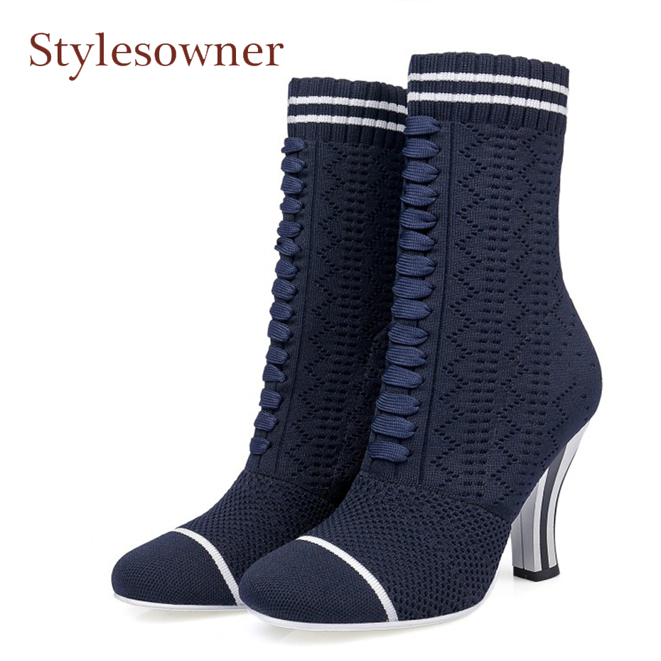Stylesowner Fashion Women Runways Booties Stretch Knitted Round Toe High Heels Sock Boots Slip-On Ankle Boots Shoes Woman fonirra women stretch knit ankle boots fabric shoes striped heel socks boots round toe women slip on high heels female boots 682