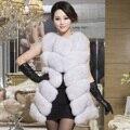 Invierno de Las Mujeres de lujo Genuino Natural Fox Chaleco de Piel de Señora Slim Chaleco de Cuero Patchwork VF0302