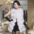 Luxury Winter Women's Genuine Natural Fox Fur Vest Lady Slim Waistcoat Leather Patchwork VF0302