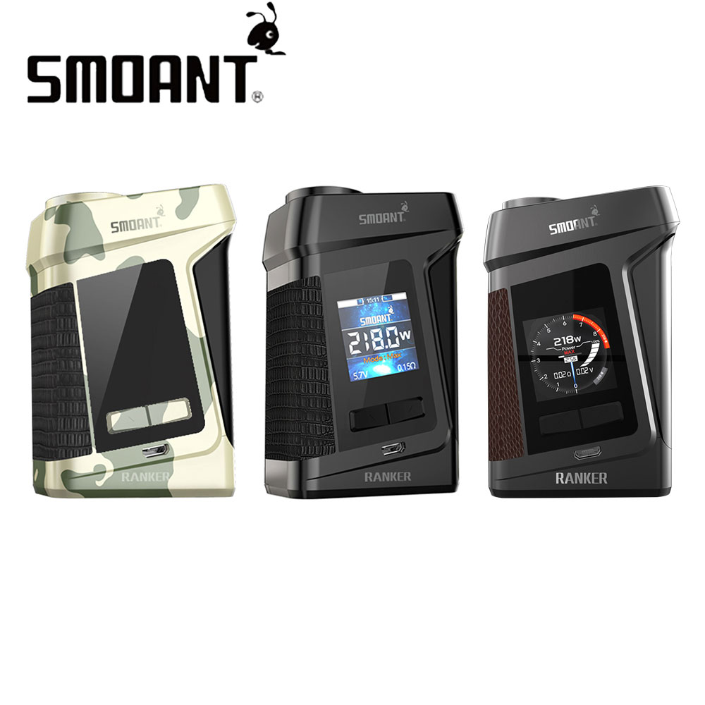 Original Smoant Ranker 218W TC Box MOD W/ 218W Max Output & 1.3-inch TFT Color Display & Reverse Protection E-cig Mod No Battery ruru15070 to 218