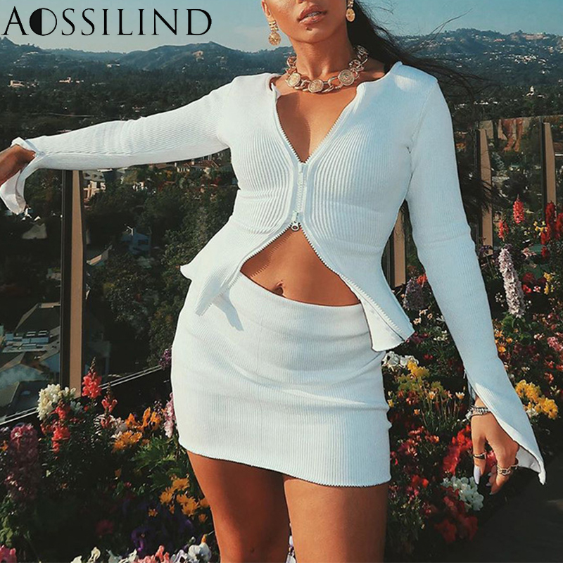 AOSSILIND Sexy Ribbed Zipper Long Sleeve Cardigan 2019 Autumn Winter Women Sexy Slim T Shirt Female Party Club Tops Streetwear