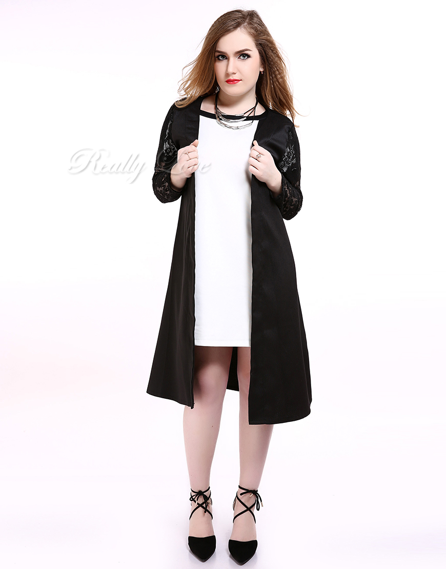 f8164cc4001 Cute Ann Women s Black Plus Size Lace Trencth Coat Long Maxi Duster  Cardigan Jacket Cocktail Party Casual Summer Spring -in Trench from Women s  Clothing on ...