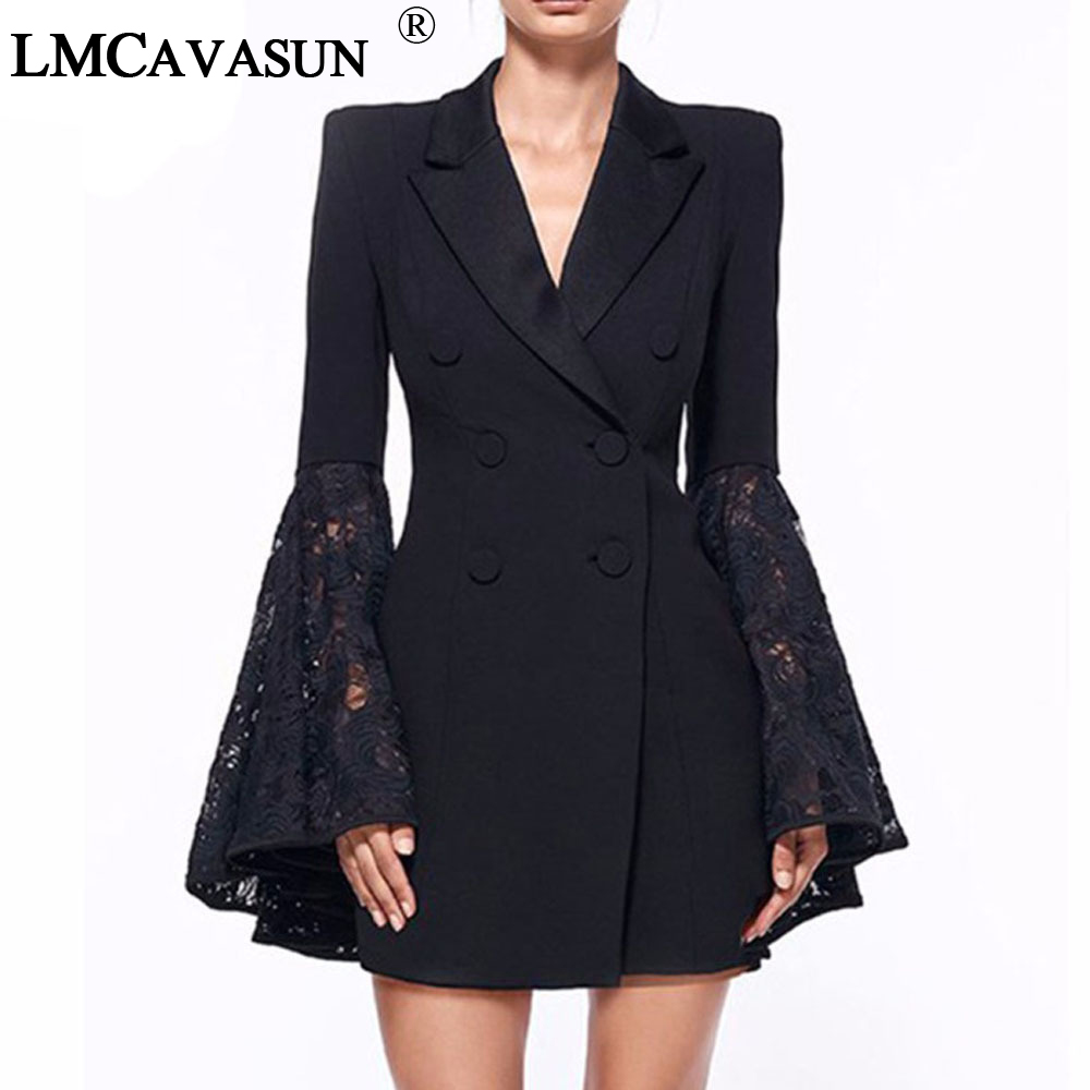 LMCAVASUN Lace Bell Flare Sleeve Blazer Women Hollow Out V Neck Double Breadsted Suit Collar Tunic Plus Size Coat Female Blazers