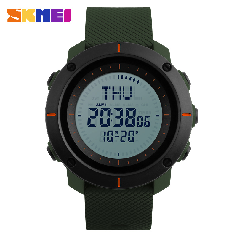 SKMEI Men Fashion Sports Watches Compass Watch 3 Alarm Repeater Chronograph Back Light 50M Waterproof Digital
