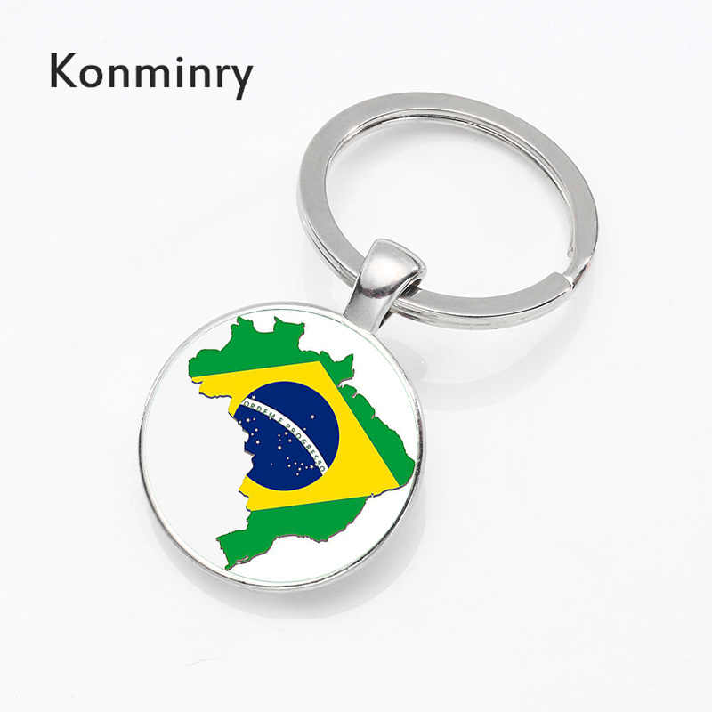 Konminry Moda Bandeira Brasil Chaveiro Titular Chaveiro Étnica Cultura Brasileira Rio Estátua de Jesus Pingente Cúpula de Vidro Jóias