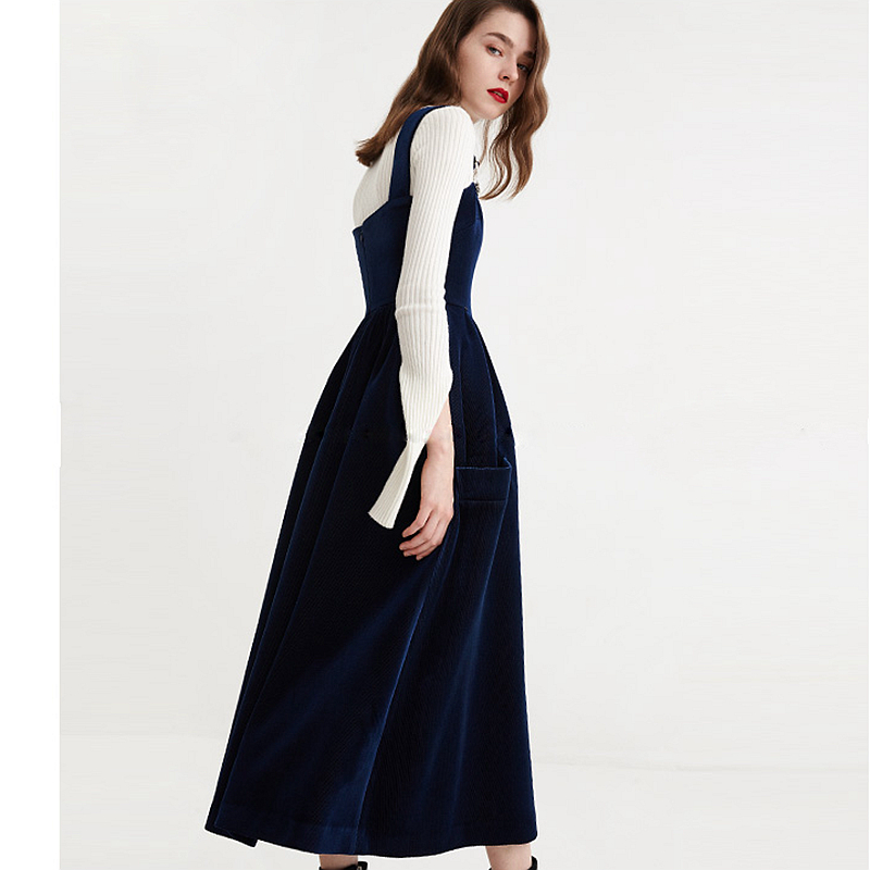 Straps Dress Women Lanon Blended Corduroy Fabric Solid Pockets Simple Design Youth Sweet Style Female New Fashion Spring 2018-in Dresses from Women's Clothing    3