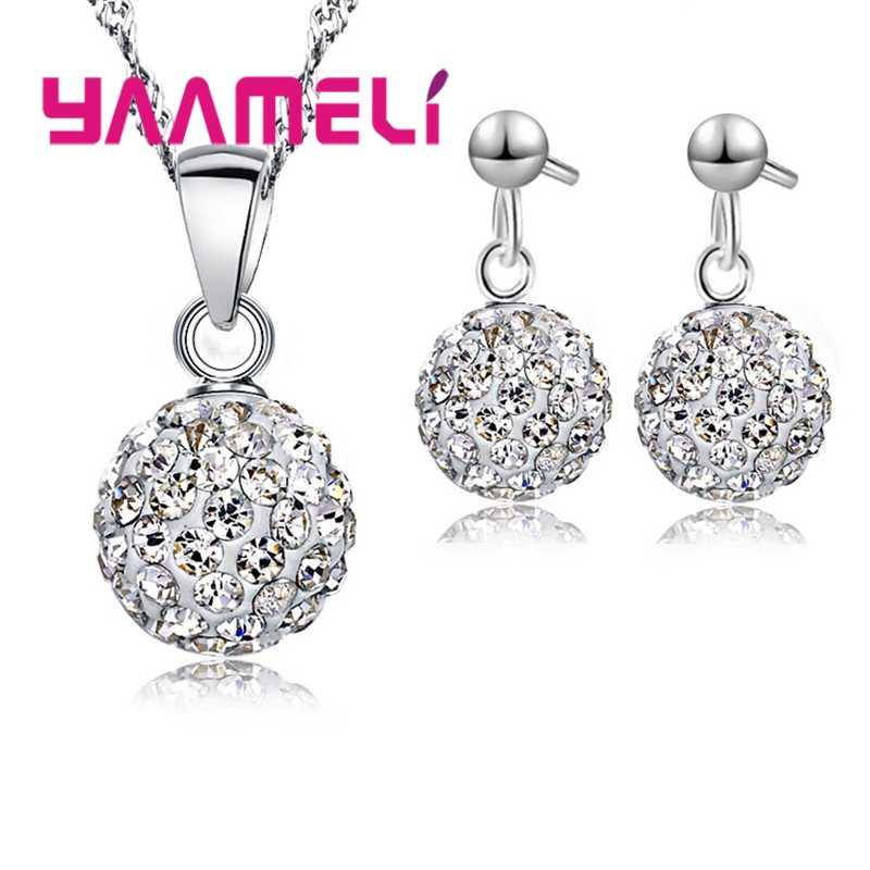 Hot Sell Good Quality Necklace Pendant Hoop Earrings Crystal Cubic Zircon 925 Sterling Silver Jewelry Sets For Women