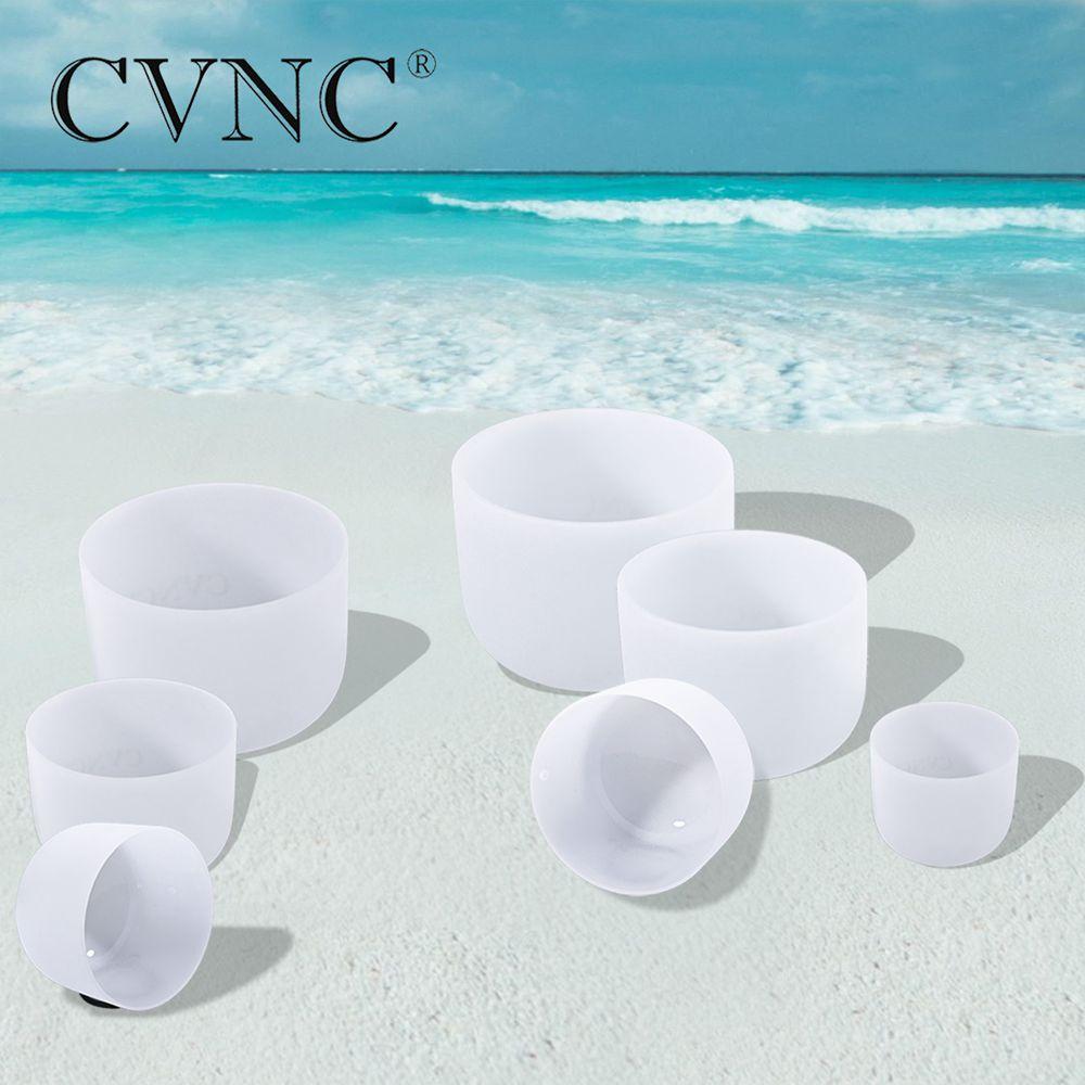 CVNC 6 12 Note CDEFGAB set of 7PCS Chakra Frosted Quartz Crystal Singing Bowl