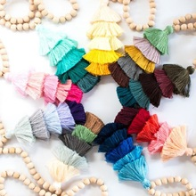 10mm Round Natural Wood Beads Tassel Pendant Long Chain Tiered Threaded Tassel Necklace