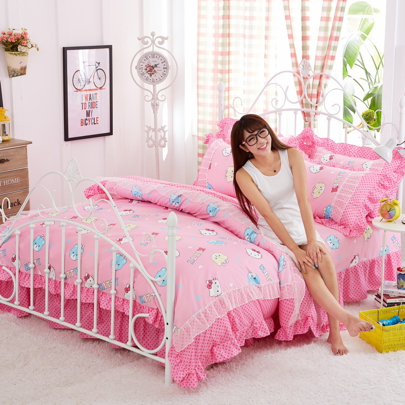 Korean style pink Bedding Sets Cartoon Hello Kitty 4pcs Bed Set Duvet Cover Bed Sheet Pillowcase Soft twin full king queen sizeKorean style pink Bedding Sets Cartoon Hello Kitty 4pcs Bed Set Duvet Cover Bed Sheet Pillowcase Soft twin full king queen size