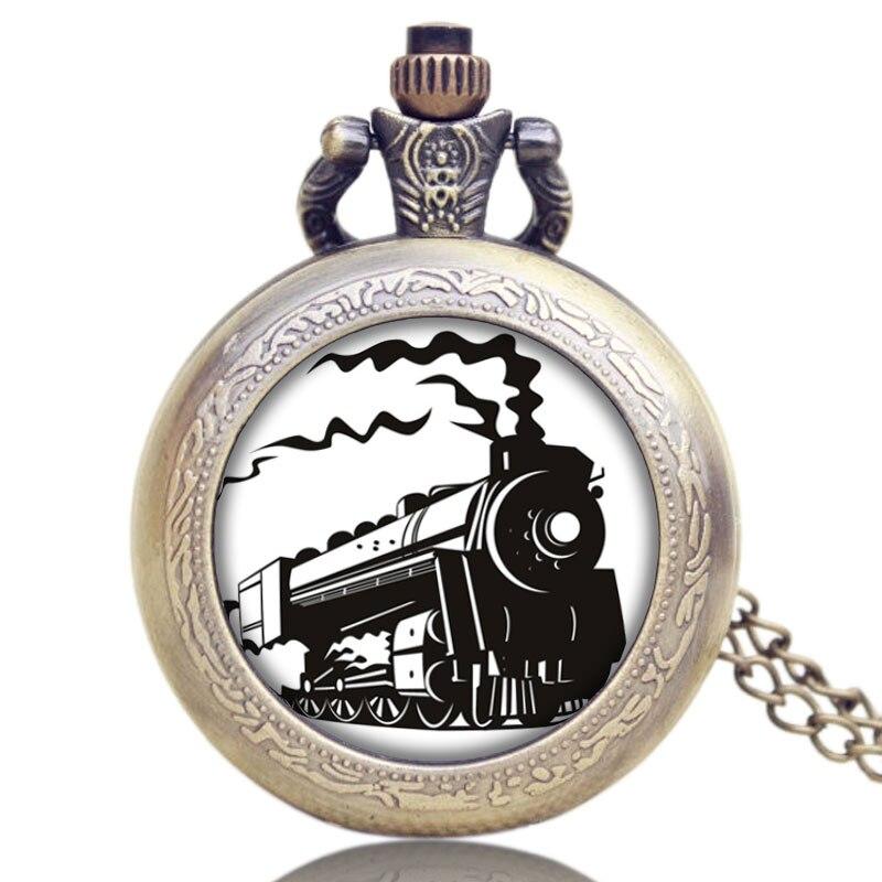 Маленький старий антикварний локомотив Loco поїзд фронт дизайн кварц намисто кулон кишенькові годинники для жіночих чоловіків подарунки  t