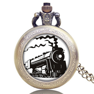 Small Old Antique Locomotive Loco Train Front Design Quartz Necklace Pendant Pocket Watch for Womens Mens Gifts