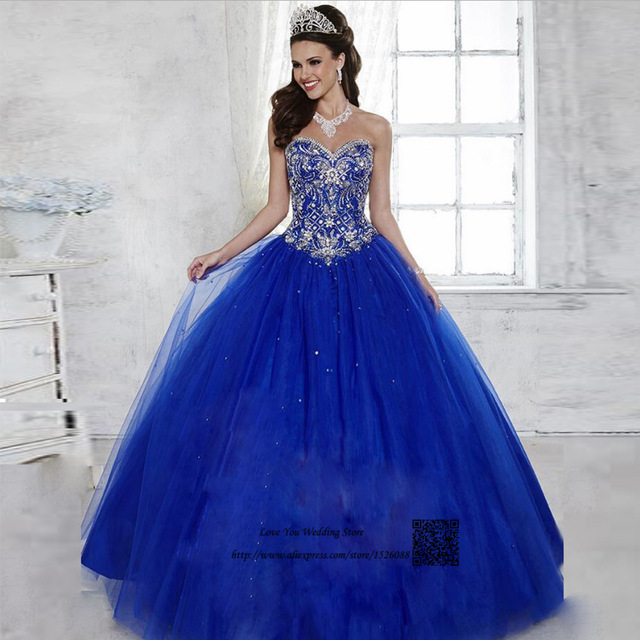 b0b5d78bb389a Vestidos de 15 Anos Debutante Royal Blue Ball Gown Cheap Quinceanera  Dresses 2017 Sweet 16 Prom Dress for 15 Years Rhinestones