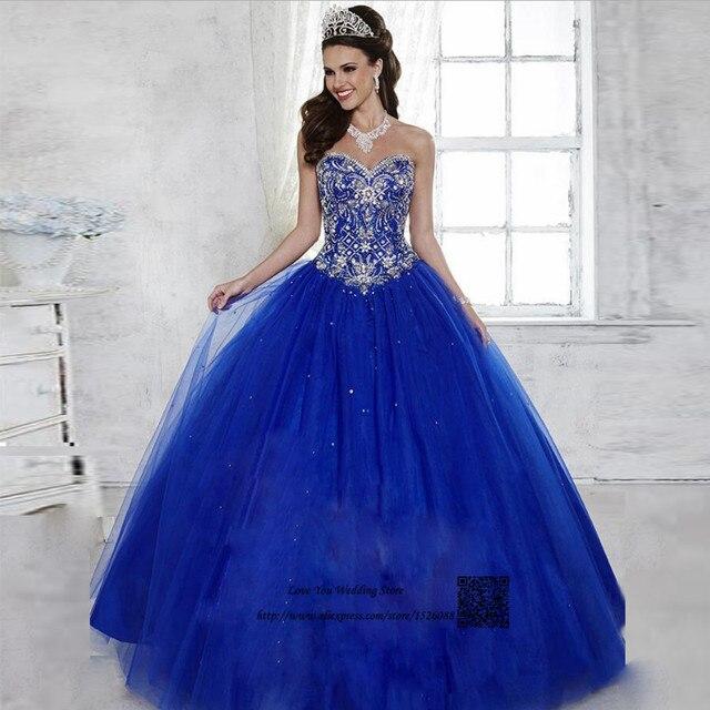 68cefac3d4e Vestidos de 15 Anos Debutante robe de bal bleu Royal pas cher Quinceanera  robes 2017 douce