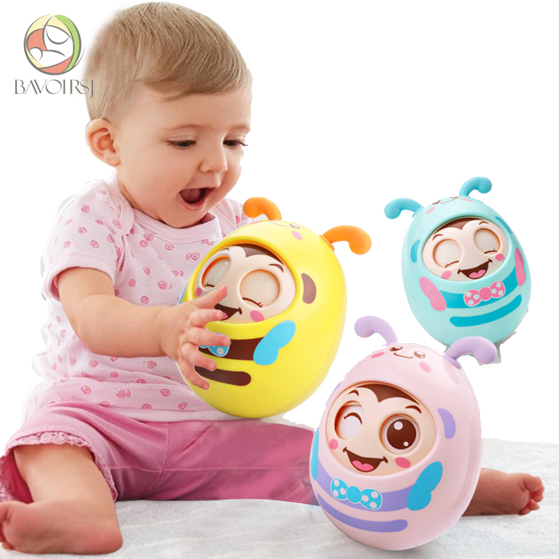 Cartoon Round Blink Tumbler Safe ABS Materials Early Education Montessori Toys For Baby Music Rattle Toy For Kids T0058