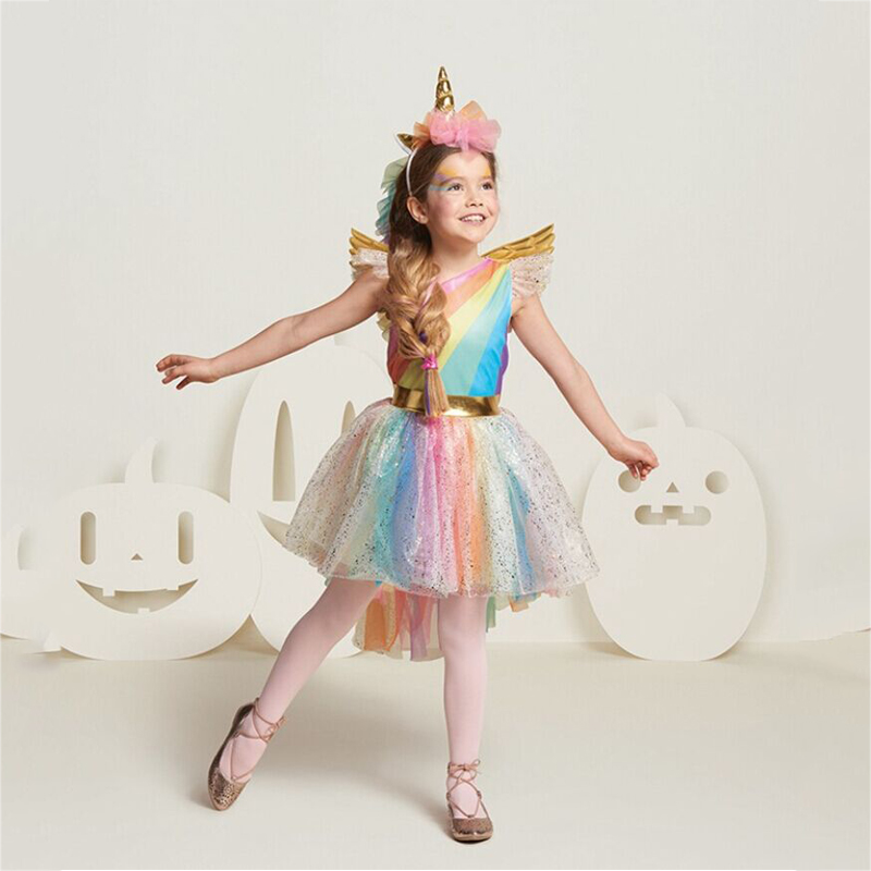 Girl's Rainbow Unicorn Cosplay Dress Halloween Christmas Cosplay Costume Kids Summer Party Dress 2019 New Arrive