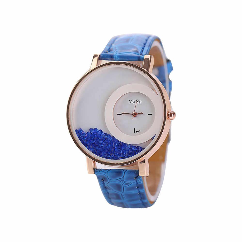 Montre Femme נשים קוורץ גבירותיי שעון עור מפוצל שעונים נשים חול טובעני ריינסטון צמיד שעוני יד Relogios Feminino