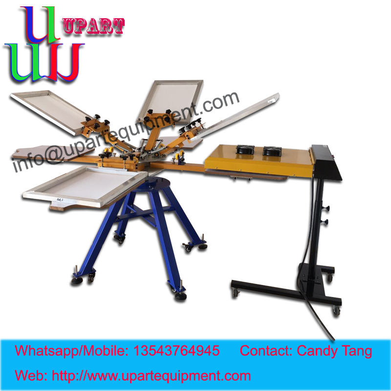 Manual 8 color 8 stations screen printing machine with IR drying oven,screen printing machine for tshirts  цены