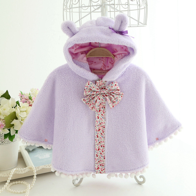 2015 coral fleece baby cloak autumn and winter  thickening cape infant clothes newborn baby girl coat