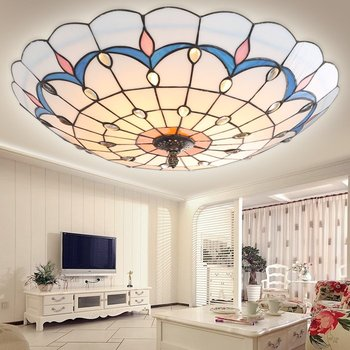 Fashion tiffany colorful glass iron led ceiling light vintage Peacock home deco living room tin solder handmade ceiling lamps