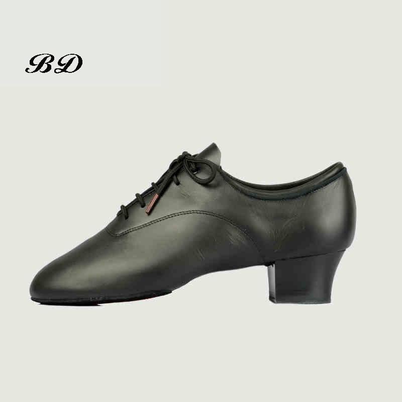 2018 hommes chaussures Profession chaussures de danse latine chaussure de salon moderne en peau de vache douce Premium Oxford tissu talon 4.5 cm BD 417 authentique