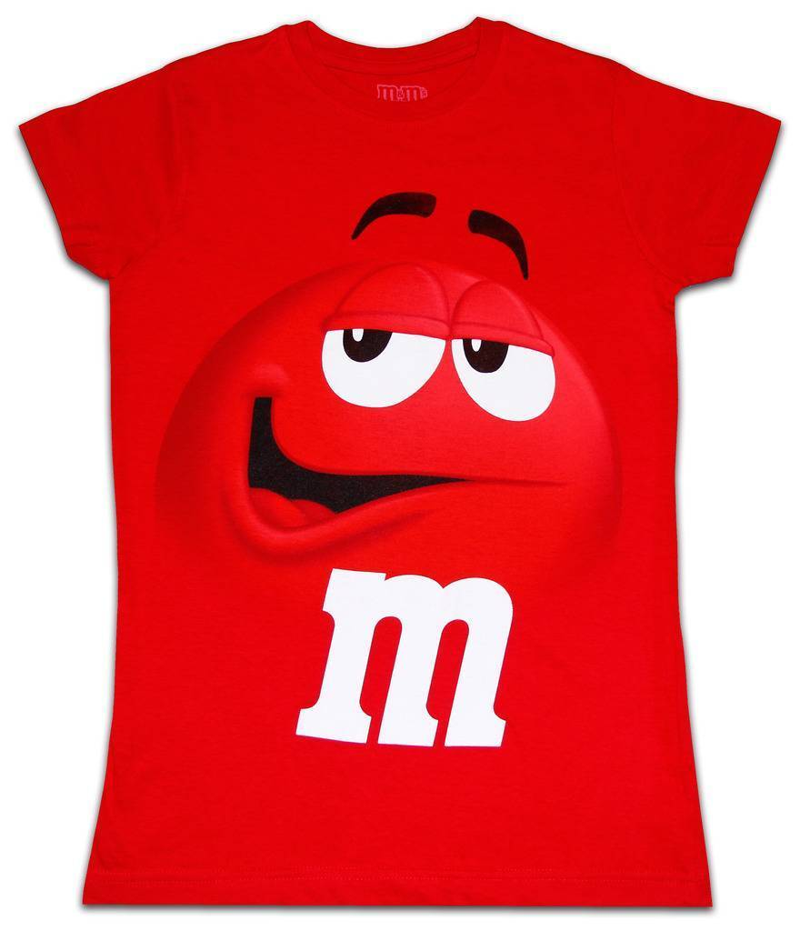 Juniors Womens M/&M/'s Chocolate Candy Silly Character Face Red T-Shirt Tee