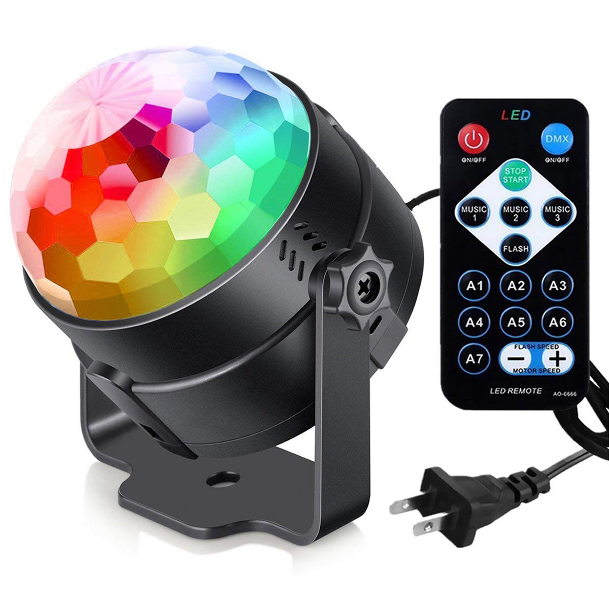BIFI-Sound Activated Party Lights with Remote Control Dj Lighting, RBG Disco Ball, Strobe Lamp 7 Modes Stage Par Light for HomBIFI-Sound Activated Party Lights with Remote Control Dj Lighting, RBG Disco Ball, Strobe Lamp 7 Modes Stage Par Light for Hom