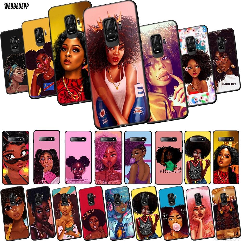 WEBBEDEPP Art Afro Girls Black Women TPU Phone Cover for Samsung Galaxy S6 S7 Edge S10e S8 S9 S10 Plus Soft Case