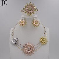 New High Quality Fashion Dubai Jewelry Set Rose Silver 18K Gold Plated Wedding African Beads Jewelry