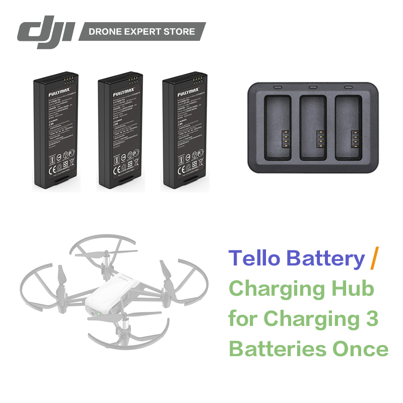 DJI RYZE Tello Flight Batteries / Tello Battery Charging Hub Original RC Drone Accessories tello charger 4in1 multi battery charging hub for dji tello 1100mah drone intelligent flight battery quick charging us eu plug