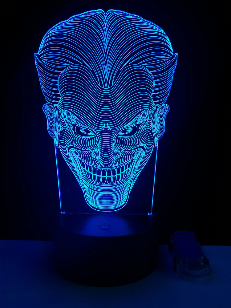 USB LED 3D Multicolor Table Lamp Fashion Movie Joker Shaped Home Party Decorative Lighting Cable Boy's Gift Bedroom Night Lights