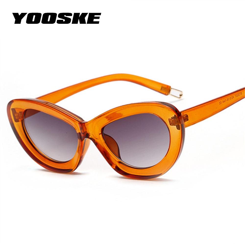 YOOSKE Women Cat Eye Sunglasses Summer Candy Color Brand Designer High Quality Vintage Cateye Oval Sun Glasses Eyewea