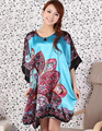 New Flower Women's Summer Nightgown Bathrobes Satin Printed Loose Kaftan Sleepwear Dress Fashion Sexy Bridesmaids Robes G21