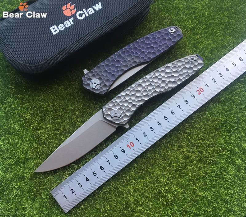 Bear claw  Flipping Folding knife D2 blade Titanium Meteorite pattern handle kitchen outdoors utility fruit Knives EDC TooL bestlead chinese peony pattern zirconia ceramics 4 6 knife chopping knife peeler holder