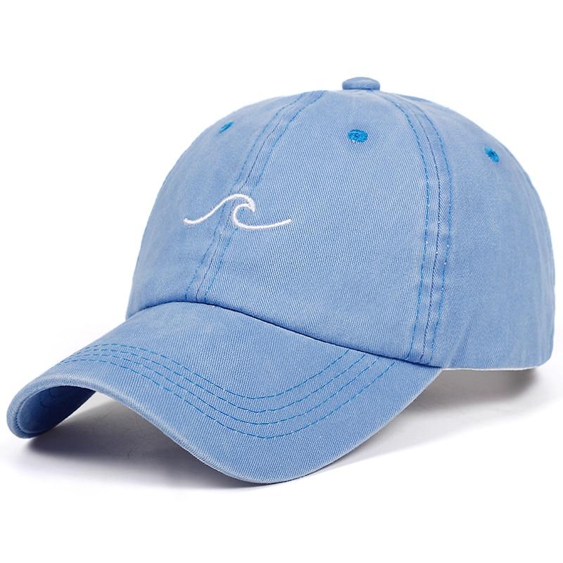 2018 New Design Washed Dad Hats Women Men Sea Wave Baseball Cap High Quality Unisex Cotton Dad Hats Sports Hats Bone Garros
