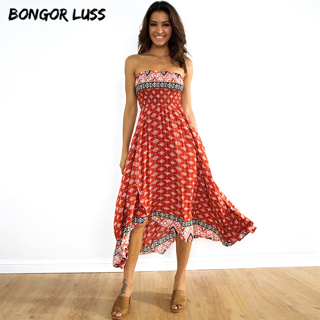 Bongor Luss Summer Maxi Dress Women Y Strapless Sleeveless Vintage Print Bohemian Casual Long Beach
