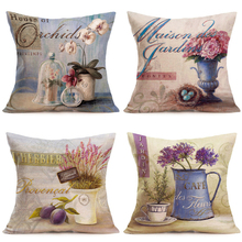 2019 New European Retro Cushion Cover Cotton Linen Beautiful Floral Pattern Art Pillowcase Home  decorative Pillows
